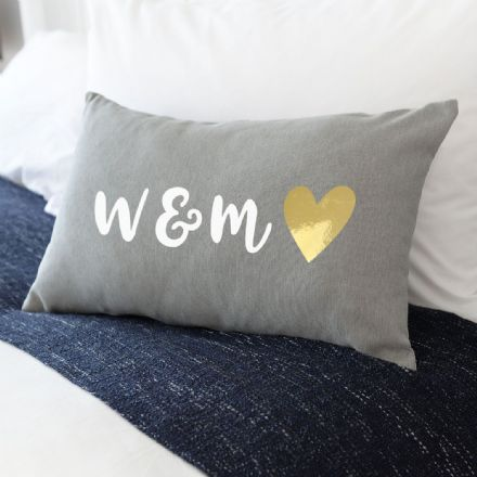 Personalised Metallic Heart Cushion
